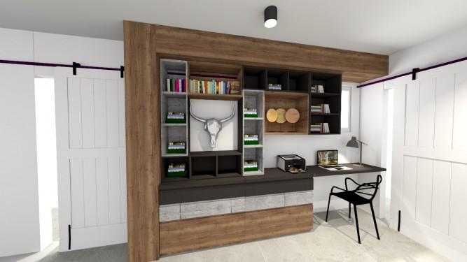 Biuro w korytarzu - wizualizacja - Jowita Błaszczyk Jowita Błaszczyk projektowanie wnętrz