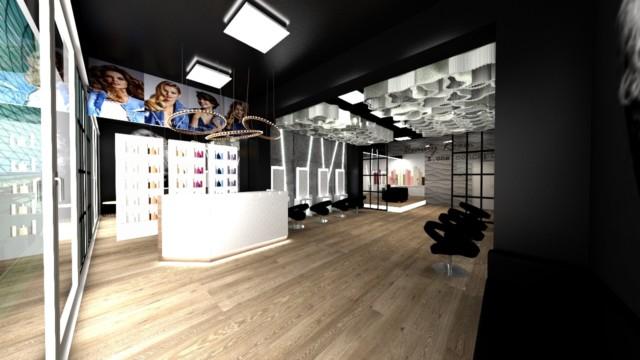 Salon Fryzjerski - wizualizacja - Jowita Błaszczyk Jowita Błaszczyk projektowanie wnętrz