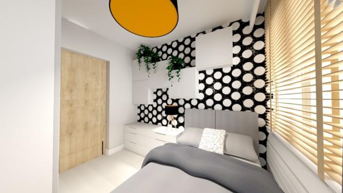 Sypialnia kropka nad i - wizualizacja - Jowita Błaszczyk Jowita Błaszczyk projektowanie wnętrz