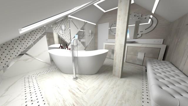 Łazienka new glam - wizualizacja - Jowita Błaszczyk Jowita Błaszczyk projektowanie wnętrz